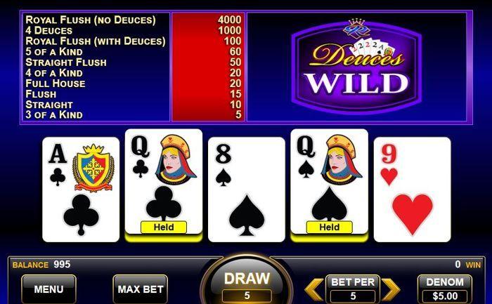 Deuces wild poker game play