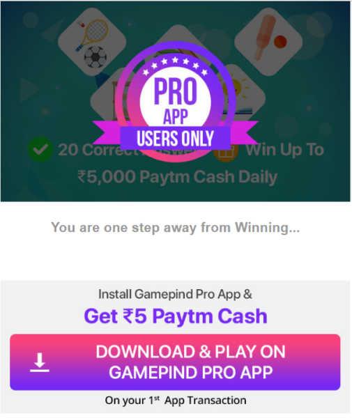Game Pind  Paytm App