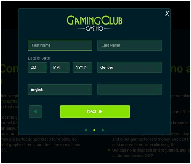 Gaming Club Casino India- Register
