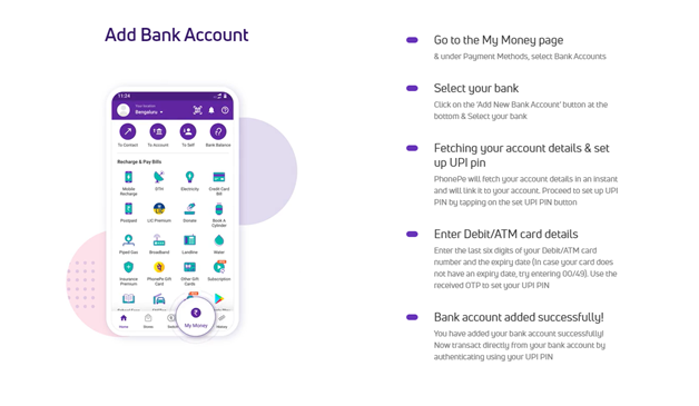 How to add bank account to PhonePe