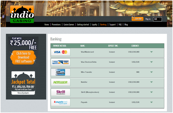 Indio Casino Banking Page