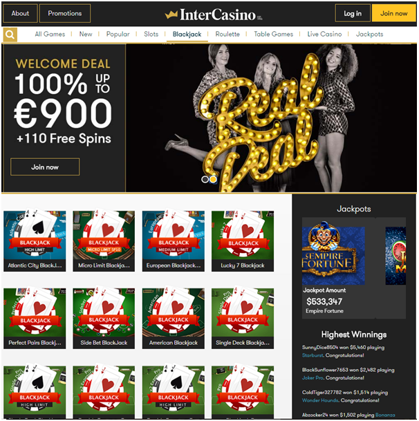 Intercasino- Play High Limit Blackjack tables