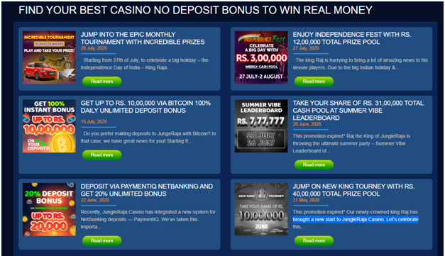 Jungle Raja online casino bonus offer