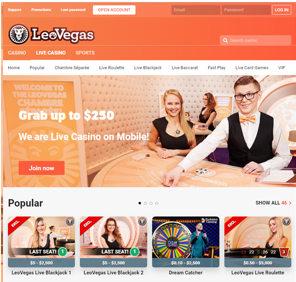 Leo Vegas live casino games