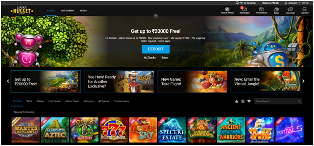 Lucky Nugget Indian online casino- Bonuses and Promotions