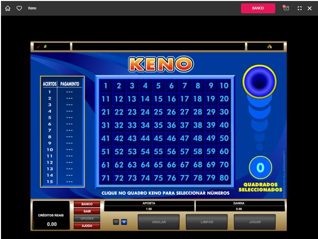 Royal Vegas Casino Keno Game
