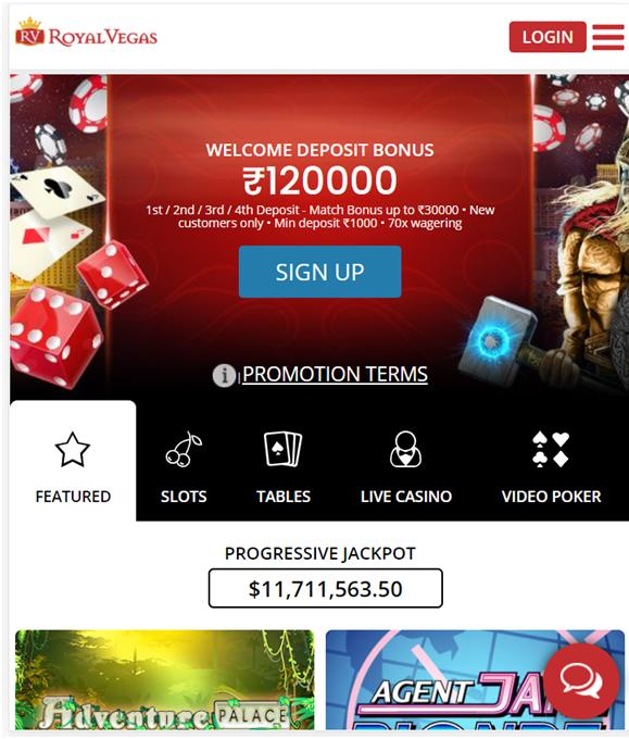 Royal Vegas casino Indian mobile app