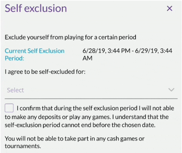 Self exclusion India poker