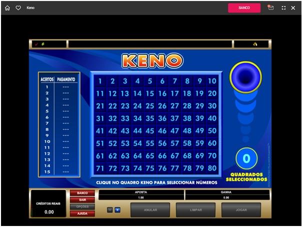 Standard keno at Spin Casino