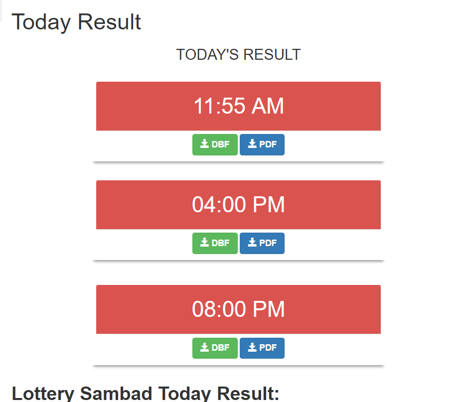 Today result- Lottery sambad