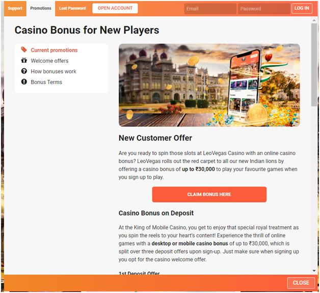 leo vegas casino indian bonus offer